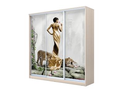 Шкаф-купе Хит 3-х дверный Девушка с леопардом Дуб млечный