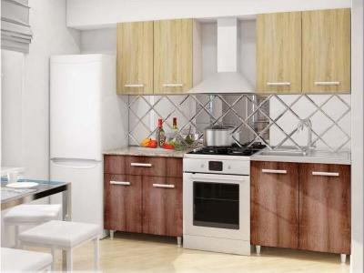 Модульная кухня Эконом Дуб Сонома-Дуб Сакраменто темный