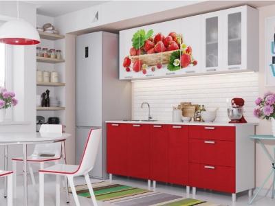 Кухня Модерн фотопечать клубника