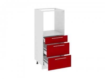 Шкаф комбинированный под быт. тех. с 3 ящиками КБ(3)3я_132(72)-60_3Я Ассорти Вишня