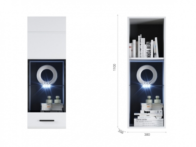 Пенал Йорк пенал-витрина навесная (01) ПР Белый/белый глянец