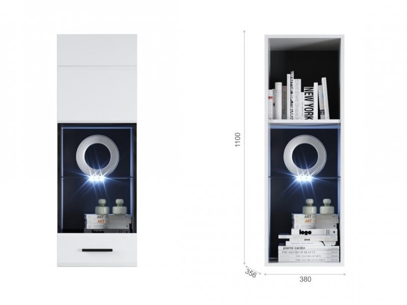Пенал Йорк пенал-витрина навесная (01) ЛВ Белый/белый глянец