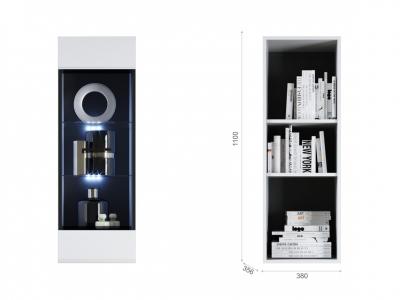Пенал Йорк пенал-витрина навесная (02) Белый/белый глянец