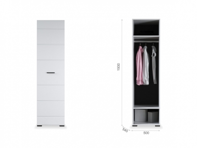 Распашной шкаф Йорк 1дв Белый/белый глянец